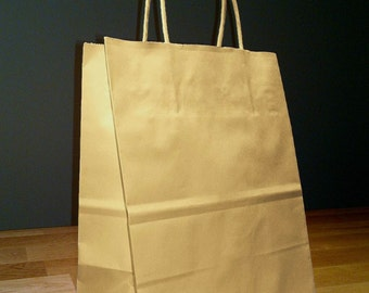 50 Pack 8x4x10 (approximate) Kraft Brown Paper Cub Shopping Gift Bags with Rope Handles