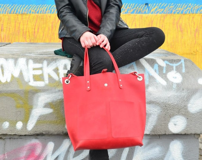 ae139516ab Handmade Shopper Bag - Leather Tote Bag - Handmade Red bag - Leather Handbag  - Handmade