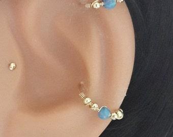 Marine Opal conch piercing, gold conch earring, silver conch ring,opal conch hoop,conch piercing jewelry,16-22 gauge, 11-16mm inner diameter