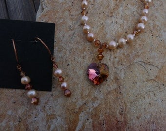 Freshwater pearls and Swarovski crystal pendant and matching earring set