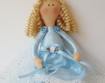 Handmade Cinderella Princess doll, curly hair, Tilda doll, soft stuffed cloth doll, 9 in. tall,Keepsake gift for girls, Christmas gift, USA