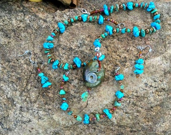 Turquoise and Silver Necklace, Bracelet and Earring Set (101516, 101616, 101716)