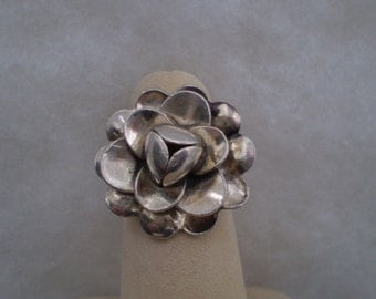 Silver Flower Bud Ring