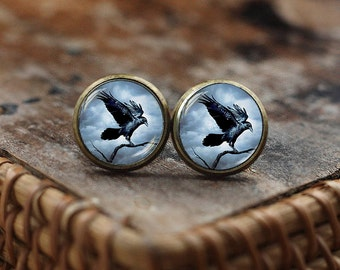 Raven stud earrings, Raven earrings, Crow earrings, Bird Jewelry, Steampunk gothic earrings, Black Bird earrings, post earrings
