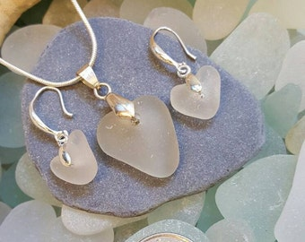 Seaglass Heart pendant and earring set, collected by me, Drilled