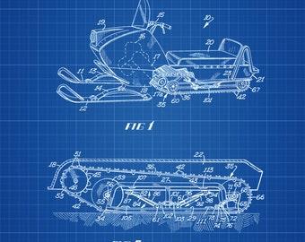 Snowmobile Patent 1969 - Patent Print, Wall Decor, Ski Lodge Decor, Mountain Home Decor, Winter Art, Snow Mobile