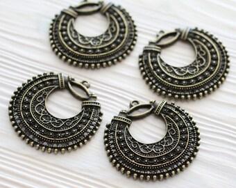 Antique gold filigree pendant charm, earring dangle, antique pendant, filigree earring charm, antique charms, filigree, tribal round charms