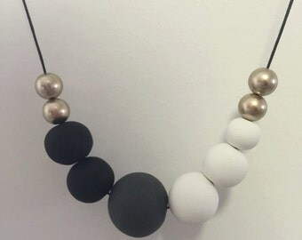 Gold, Black, Grey and White Necklace