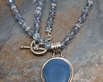 Swarovski Indian Sapphire Beaded Necklace w/ Blue Chalcedony Inlay Drop Pendant