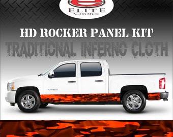 "Traditional Inferno Cloth Camo Rocker Panel Graphic Decal Wrap Truck SUV - 12"" x 24FT"