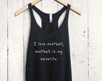 I Love Football Tank Top, Cute Football Shirt, Womens Football Tshirt, Football Mom Tank Top, Football Game Day Shirt
