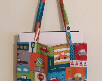 Car Print Kids Crayon Tote Coloring Book Bag Caddy Organizer