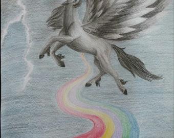 Flight Fantasy Art Unicorn Art Pencil Drawing Fantasy Drawing Wall Decor