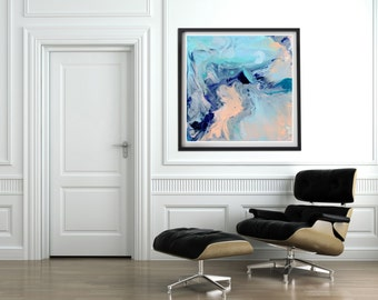 Abstract art print, canvas print from original painting. Turquoise peach blue purple. Wall art. Square abstract painting. Ready to hang
