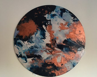 Acrylic Marble Effect Circle Canvas Painting - Navy, Copper & Nude