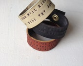 Customizable Quote Cuff // Leather Bracelet