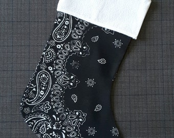 Bandana Christmas Stocking - Black - Handmade Holiday Decor Christmas Sock - Xmas - New