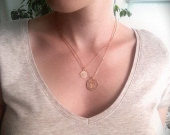 Coin necklace, rosé gold plated
