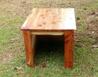 handmade eastern red cedar indoor dog house/endtable or bedside table.