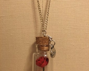 Rose in a Bottle Necklace