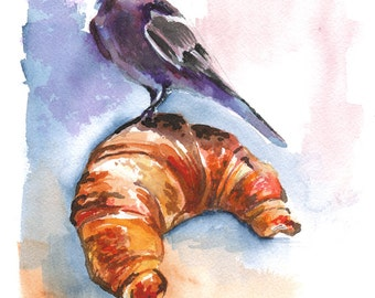 Crow on a Croissant art print // 8x10 or 11x14 archival pigment print // print of a watercolor painting, bird on a breakfast pastry