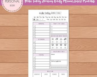 PERSONAL Make Today Amazing DO1P Daily Planner Insert Printable | Fits Kikki K Medium & Filofax Personal INSTANT DOWNLOAD