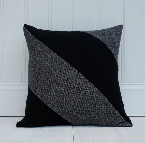 Organic Throw Pillow Black And White Tweed Wool Pillow