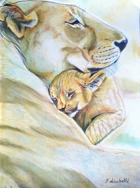Lions drawing. Portrait animals. Lioness and baby lion. Savannah pitture. OOAK. Soft pastels on velvety paper. Child's bedroom. Nursery art.