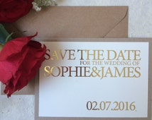 Rustic gold foil Save the date, simple save the date, elegant save the date, romantic save the date