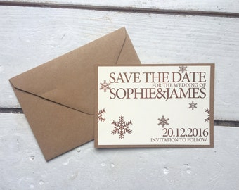 winter wedding save the date, rustic wedding, snow flake save the date
