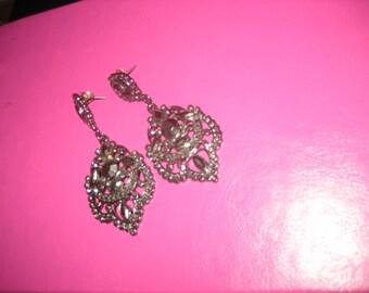 Stunning 2 1/2 inch long Rhinestone Earrings