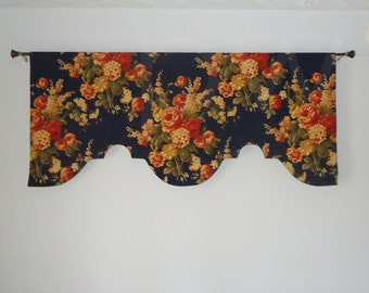 """60"""" Classic Floral Navy Custom Valance, Lined"""