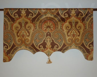 Brown Orange Traditional Paisley Valance for French Door