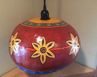 colorful bushel basket gourd hanging swag lamp light