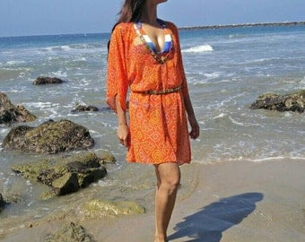 SALE Coverup, Women's Beach coverups, Beach cover ups, swimsuit coverup,vacation, Resort wear, beach caftan, Kaftan, tunics, orange coverup,