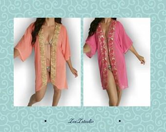 On SALE, Coral beach Kimono, Boho Kaftan, caftan, handmade, beach wear,resort wear,swimsuit coverup, Beach coverups, Kaftans, tunic