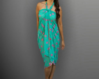 women's Beach Cover ups, embroidered beach coverup, handmade,resort, swimsuit coverups, Beach coverups,  pareo, turquoise sarong, wrap