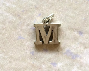 Letter M Alphabet Charm ~ Sterling Silver Jewelry .925
