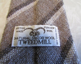 Vintage Necktie Natural Jacob Wool TWEEDMILL British Made Pure New Wool Shades of Brown