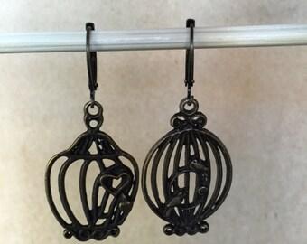Dark antique brass birdcage earrings