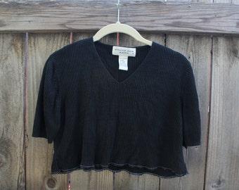 knit ribbed black crop top