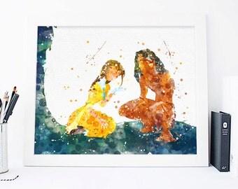 Disney Tarzan and Jane tarzan watercolor tarzan print tarzan wall art tarzan nursery tarzan decor tarzan poster tarzan printable tarzan art