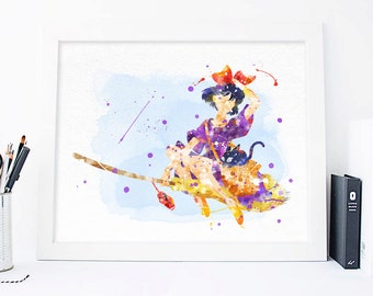 Kikis delivery service - Kiki's Delivery Service - Movie The Flying BroomWatercolor art, Boys Room Decor Wall Decor Movie Art Wall Poster