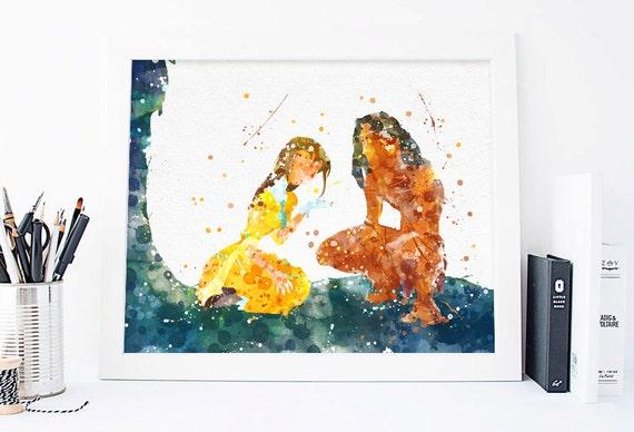 Disney Tarzan And Jane Tarzan Watercolor Tarzan Print Tarzan