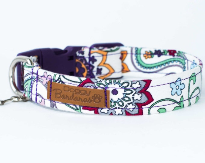 Flower Dog Collar Small Girly Dog Collar Floral Tiny Dog Collar Pattern Handmade Dog Collar Paisley Female Dog Collar for Girl Puppy Gift