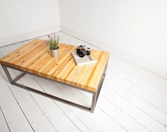 Upcycled Coffee Table with Metal Industrial Style Legs