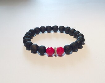 Black lava rock and 0,22 carat diamond male bracelet