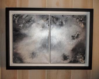 "Original abstract painting// handcrafted abstract// double framed wood art//black painting//white painting//28""x19"" painting//"