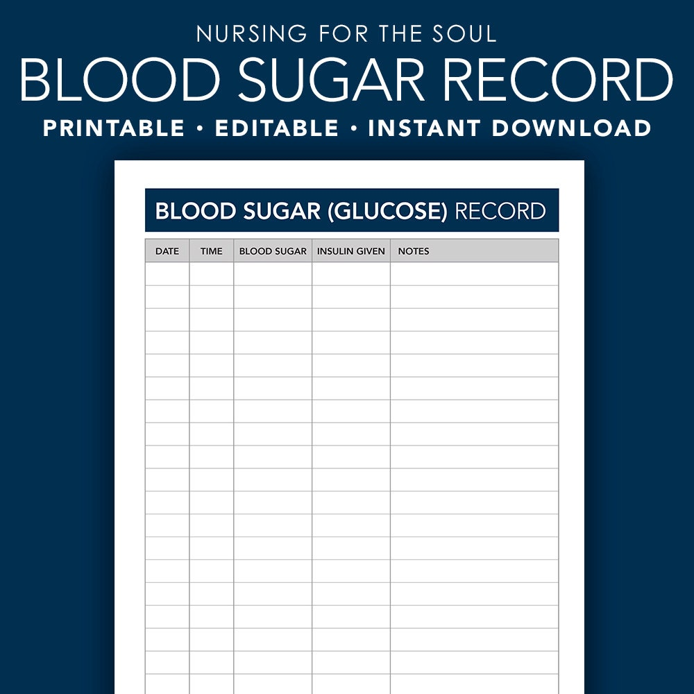 It is a graphic of Agile Free Printable Blood Sugar Log