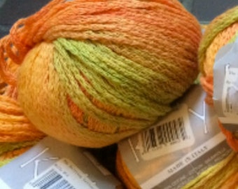 Kelly by Needful Yarns cotton/acrylic blend yarn in Orange, Yellow and Green multi color lot of 15 skeins made in Italy